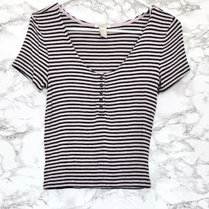 Forever 21 Striped Blue and Pink Blouse size S